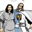 Sir Julian of Slyden und seine schwangere Frau (Illustration: Michael Stitz / Kreativbüro Köln)